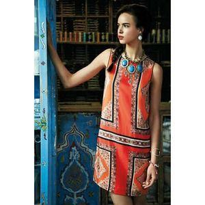 Anthropologie MAEVE Canna Orange Silk Shift Dress